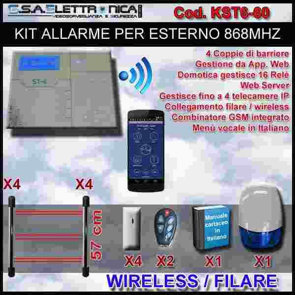 Kit allarme ibrido filare / wireless 868 mhz per esterno