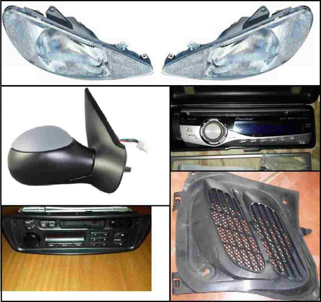Ricambi Peugeot 206 (fari anteriori, specchietto, autoradio, ecc)