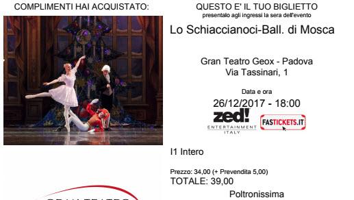 Vendo due biglieti per Lo Schiaccianoci - Balletto di Mosca.