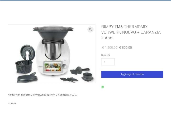 BIMBY TM6 THERMOMIX VORWERK NUOVO + GARANZIA 2 Anni