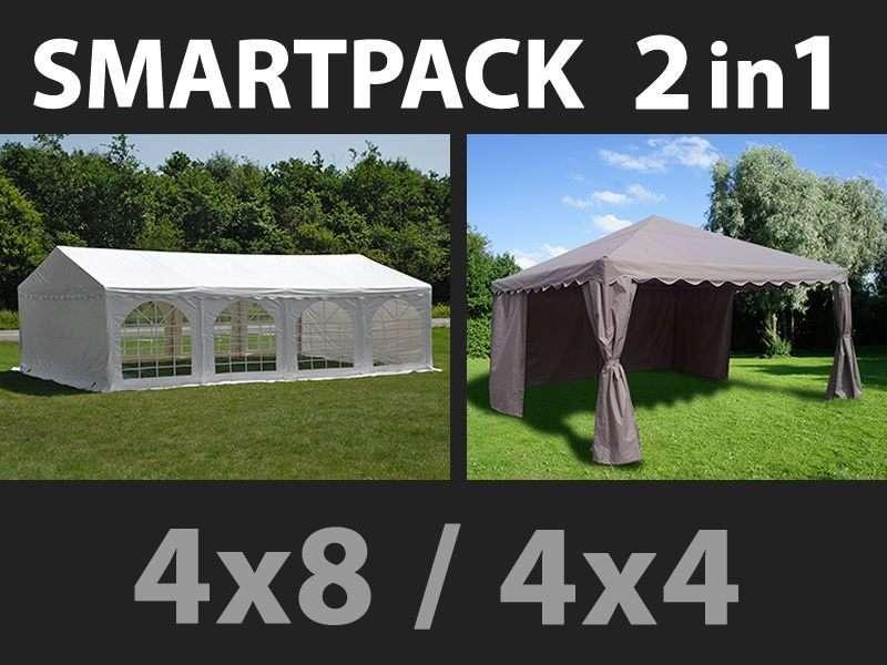 SmartPack Soluzione 2-in-1: Tendone per feste Original 4x8m, Bianco/Gazebo 4x4m, Sabbia
