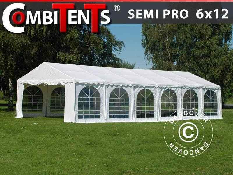 Tendone per feste, SEMI PRO Plus CombiTents® 6x12m, 4 in 1, Bianco