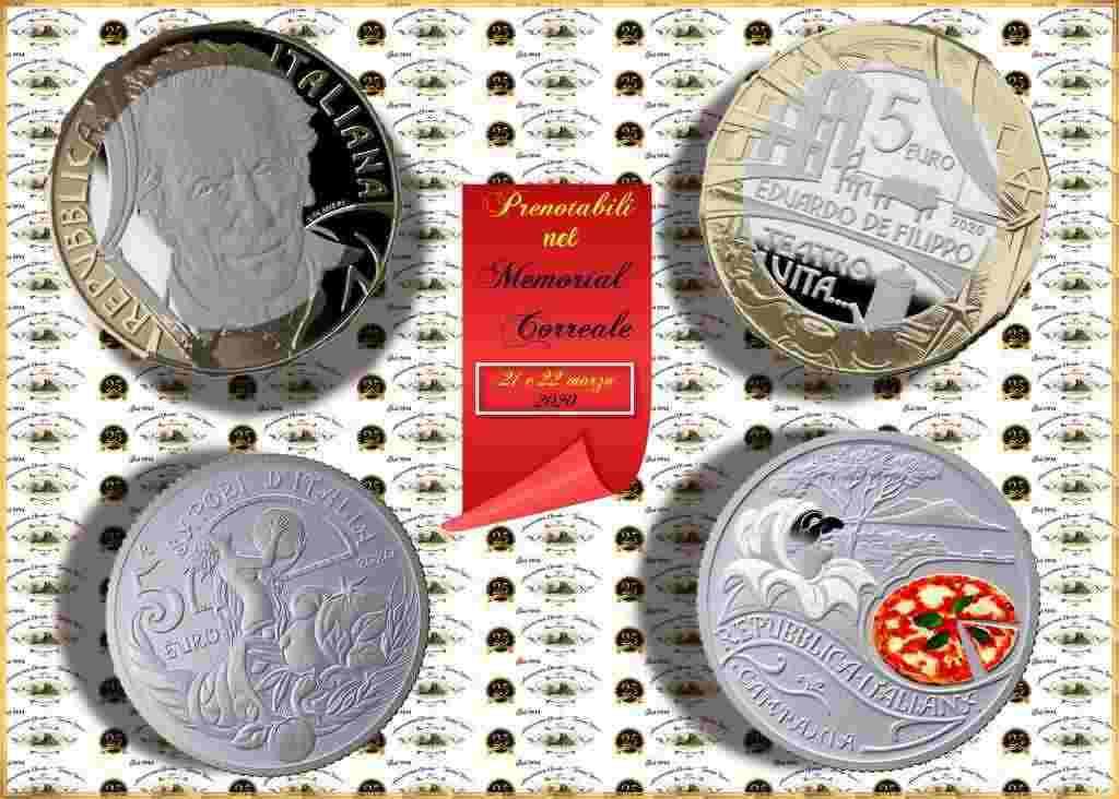 Le moneta da collezione dedicate a Eduardo De Filippo e alla Pizza
