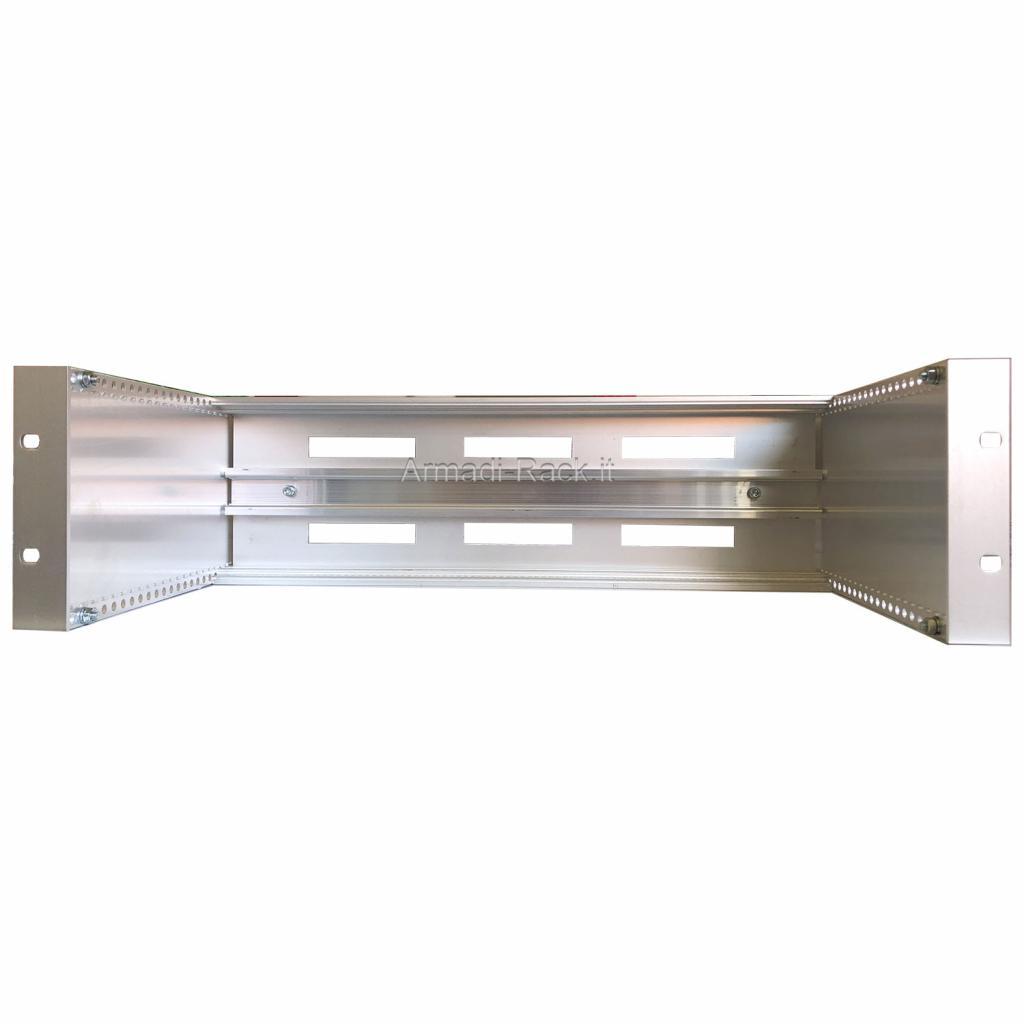 Telaio subrack in alluminio altezza 3 unità, profondità 230 mm, con guida DIN RAIL 35 mm IEC 60715