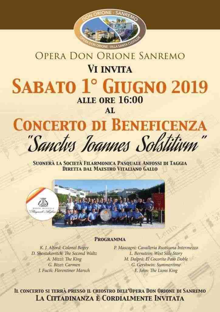 Vitaliano Gallo Don Orione SanRemo dirige il 1 Giugno 2019 la Banda P. Anfossi di Taggia
