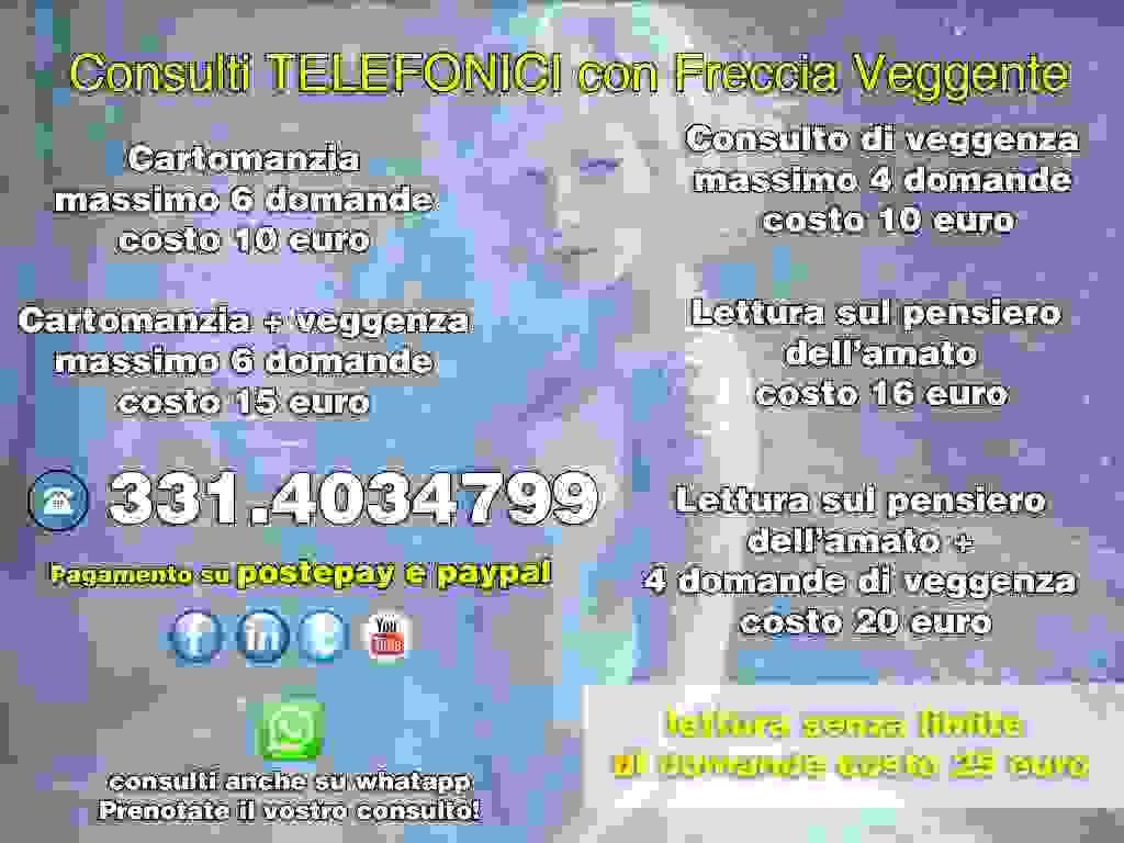 CONSULTI TELEFONICI DI CARTOMANZIA E VEGGENZA PROFESSIONALI chiama 331.40.34.799