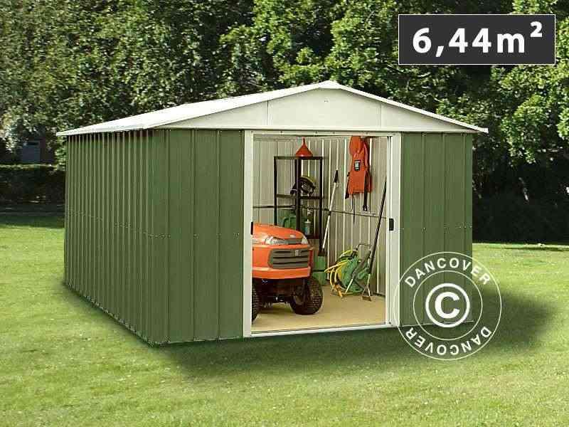 Casetta da giardino 3,03x2,37x2,02m, Verde/argento