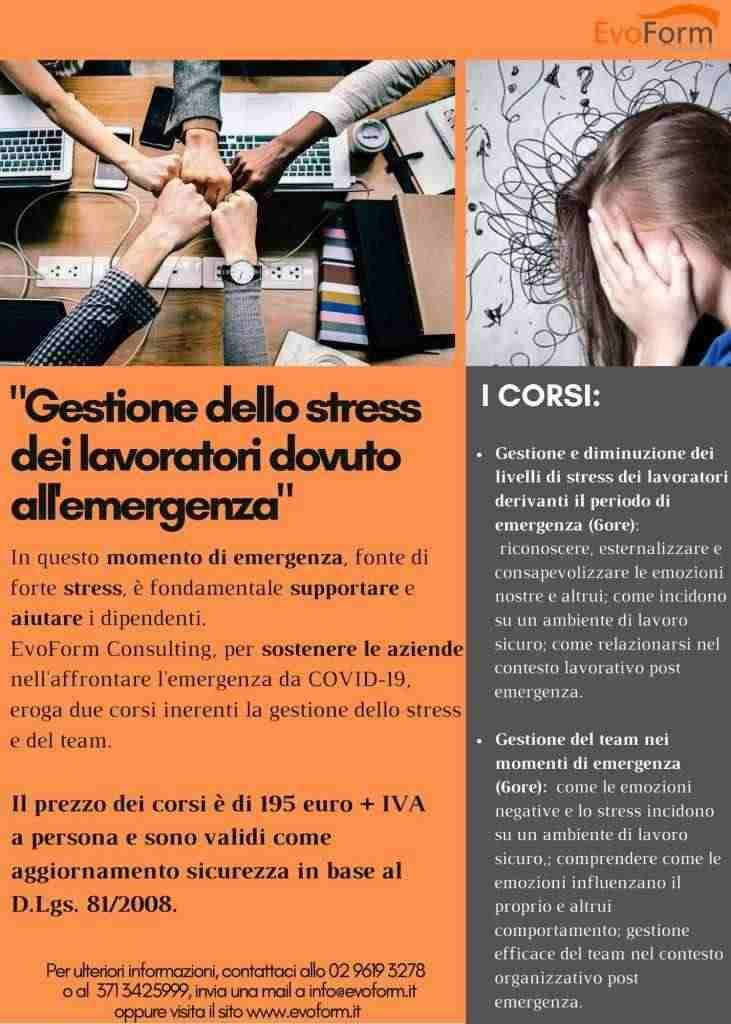 Corso sulla gestione dello stress dei lavoratori dovuto all'emergenza sanitaria