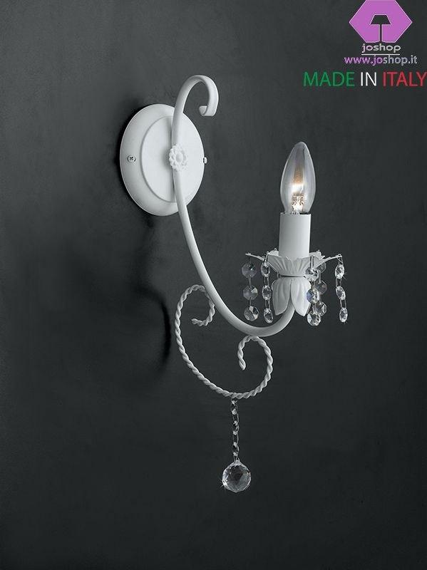 applique 1 luce vanto bianco shabby metallo laccato da parete
