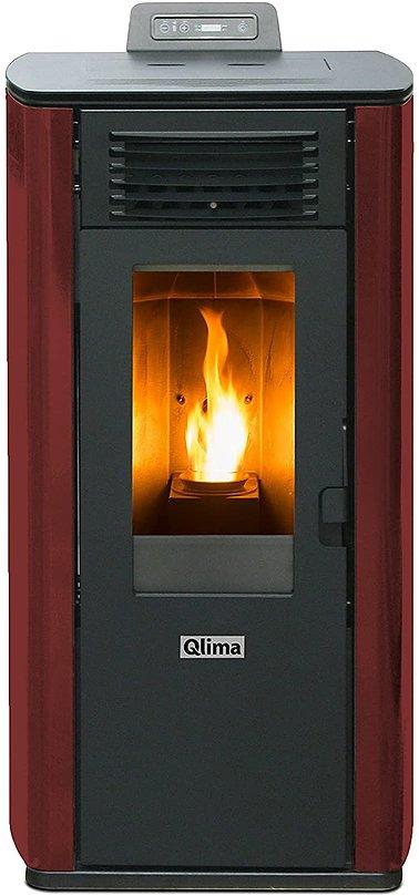 QLIMA Stufa a Pellet Fiorina 74 S-Line Potenza Termica 7.45 kW 200 m3 Riscaldabili Colore Rosso