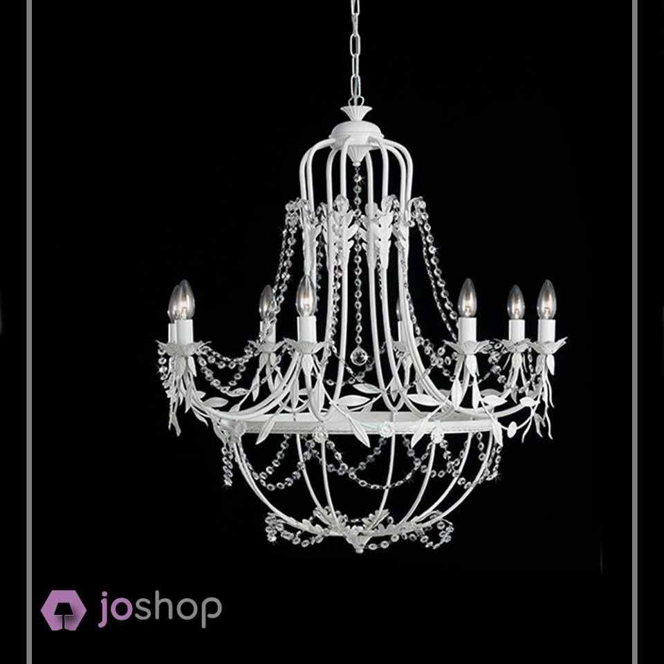 sospensione da soffitto 8 luci vanto shabby bianco laccato decoro cristalli