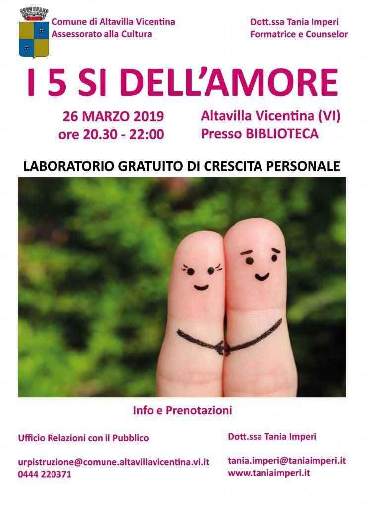 I 5 SÌ DELL'AMORE - LABORATORIO GRATUITO
