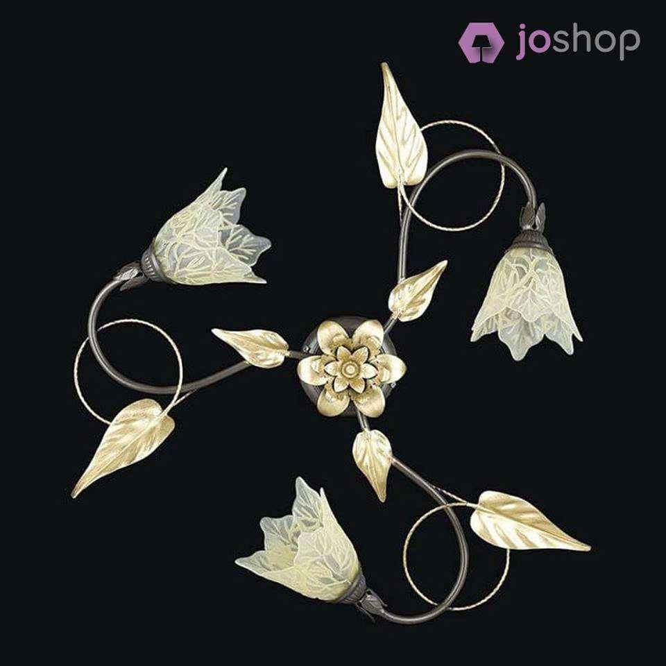 plafoniera 3 luci fiore classic ferro battuto fiori e foglie vetro decorato