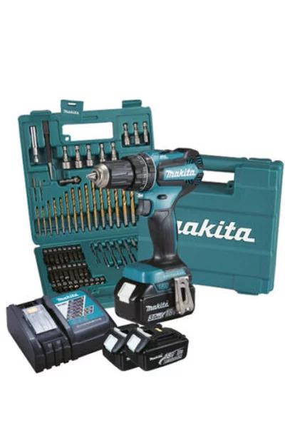 MAKITA trapano avvitatore brushless 18v 2batt 3ah + 75 accessori DHP485FJX1