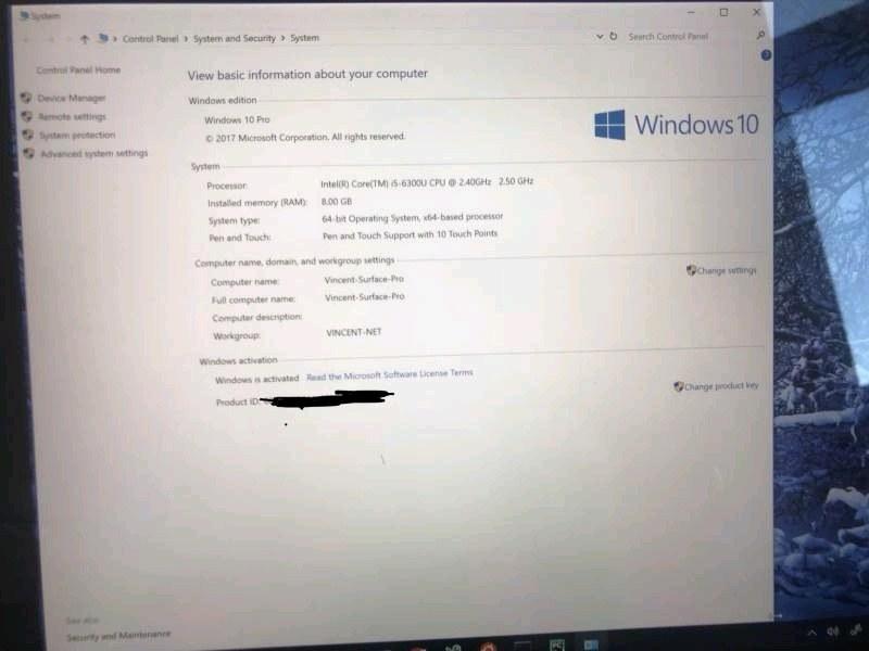 Surface pro 4 i5 8g RAM 256gb