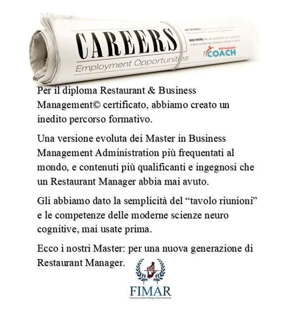 "Master in Restaurant & Business Management© ""certificato"""