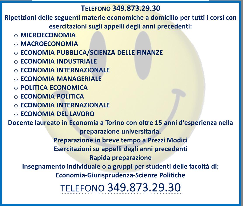 LEZIONI/RIPETIZIONI DI MATERIE ECONOMICHE A TORINO 3498732930
