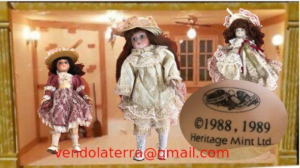 Dispongo di 3 bambole in porcellana della Heritage Mint Limited Collection, anno 1988 - 1989. La piu