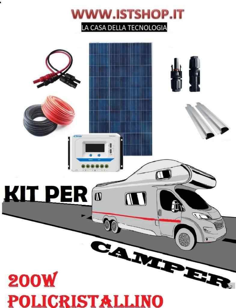 Pannello Fotovoltaico 200W policristallino kit completo misure 140x100
