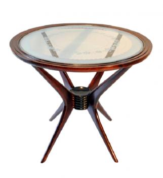 tavolino anni 40 in faggio tinto e cristallo