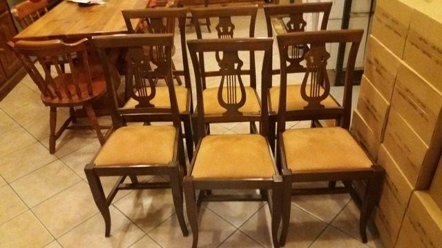 6 sedie in massello colore noce