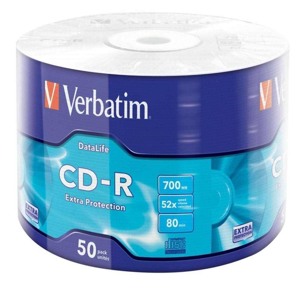 50 cd-r verbatim vergini 52x 700 mb extra protection