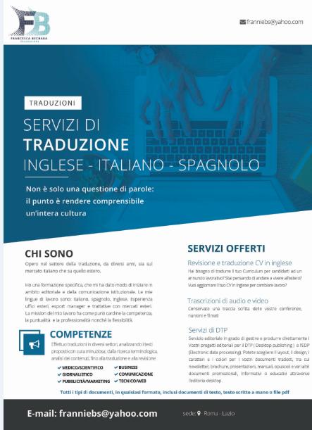 Traduzioni  italiano spagnolo e inglese