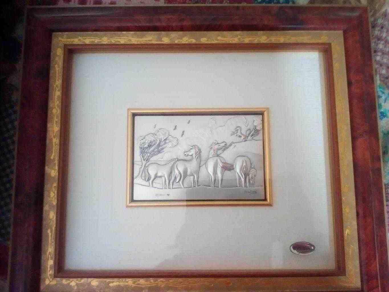Quadro cavalli argento Ottaviani dipinto a mano