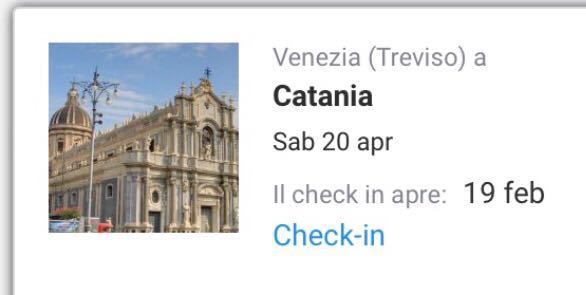 VENDO Biglietto VENEZIA TREVISO-CATANIA Sabato 20 Aprile