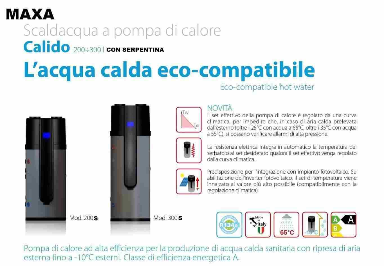 MAXA SCALDA ACQUA A POMPA DI CALORE  IN FORMULA ESCO CONTOTERMICO 2.0