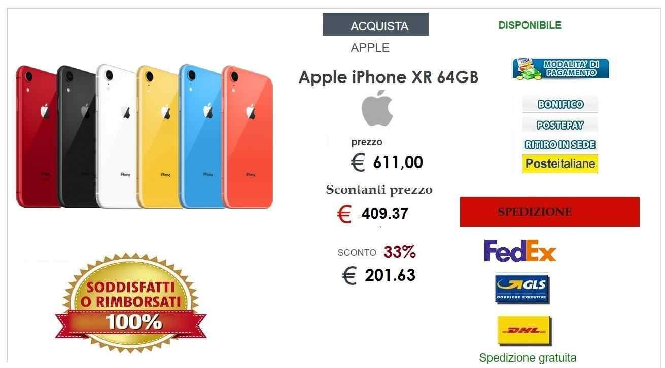 Nuovo Smartphone Apple IPhone XR 64GB