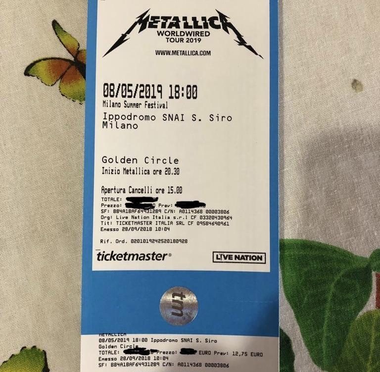 Biglietto concerto Metallica del 8/5/19