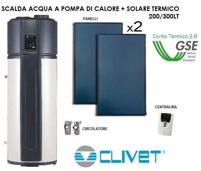 CLIVET SCALDA ACQUA A POMPA DI CALORE DA 200 O 300LT ABBINATA A SOLARE TERMICO - FORMULA ESCO