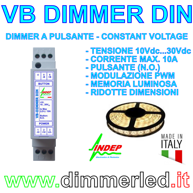 Dimmer a pulsante per Strisce led - 12V/24V 10A - Made in Italy