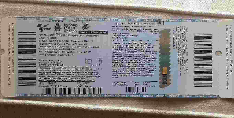 2 biglietti Moto GP Misano - Dom.10/09 - Butrapela 2