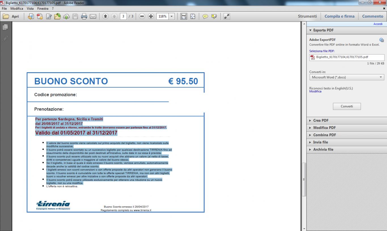 BUONO SCONTO TIRRENIA € 95.50