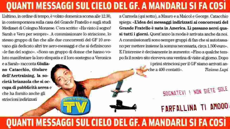 AEREO Casa Grande Fratello VIP: Cinecittà Roma AEREI Scritta Striscione GF VIP 5.  STRISCIONE AEREO