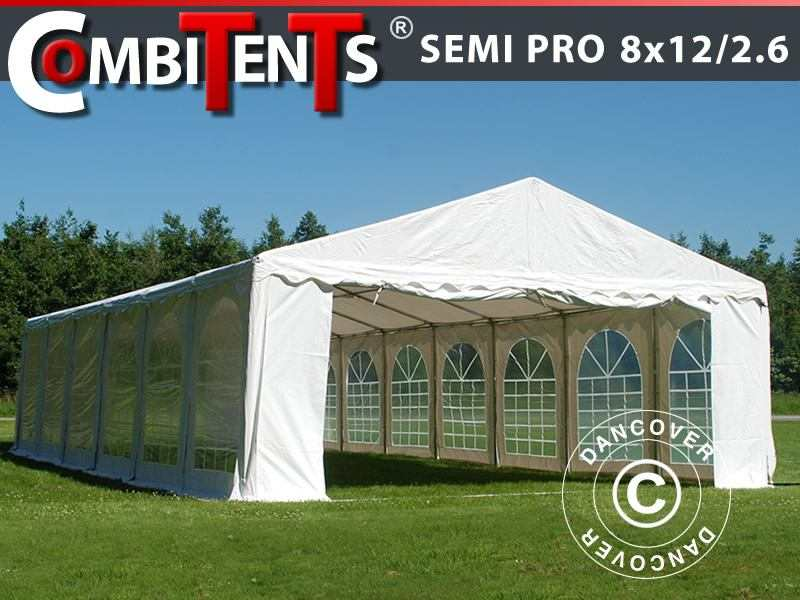 Tendone per feste, SEMI PRO Plus CombiTents® 8x12 (2,6)m 4 in 1, Bianco