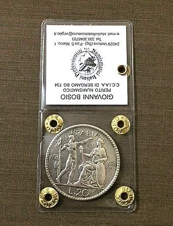 20 lire Littore 1928 NC periziato