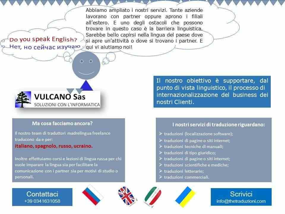 Traduzioni italiano, russo, inglese, spagnolo, ucraino