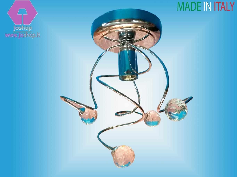 joshop faretto plafoniera moderno cromo lucido  sfere cristallo tipo swarowski mina nuovo tendenze