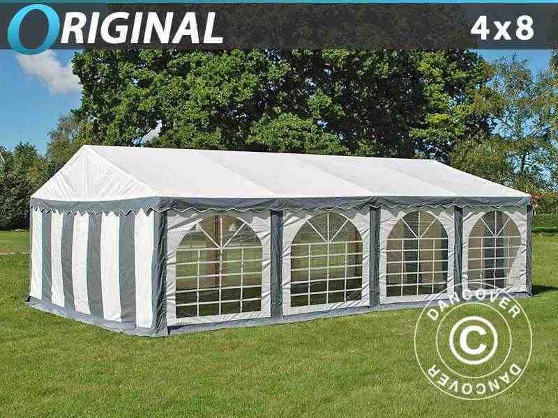 Tendone per feste Original 4x8m PVC, Grigio/Bianco