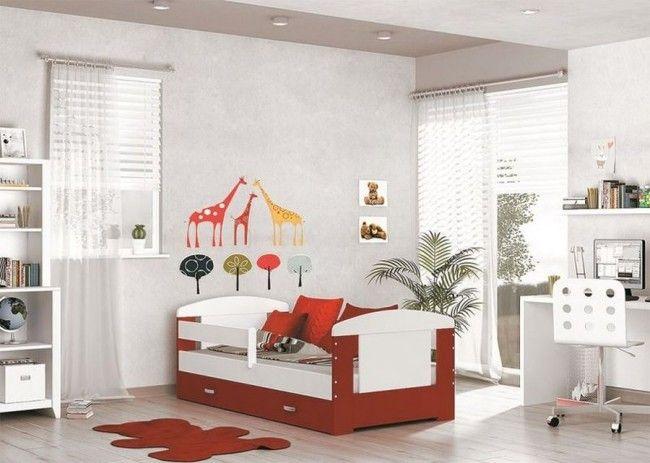 Letto per bambini con vano contenitore , rosso (80x160) – materasso in regalo– Filippo