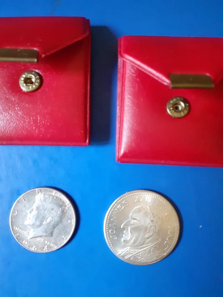 2 monete d'argento, papa Giovanni XXIII e John Kennedy 1964