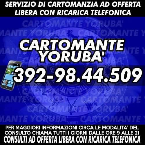 I consulti vengono svolti telefonicamente: il Cartomante YORUBA'