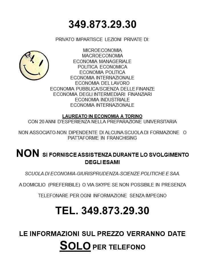 RIPETIZIONI DI MACROECONOMIA-MICROECONOMIA ECO MANAGERIALE INDUSTRIALE PUBBLICA VIA SKYPE 3498732930