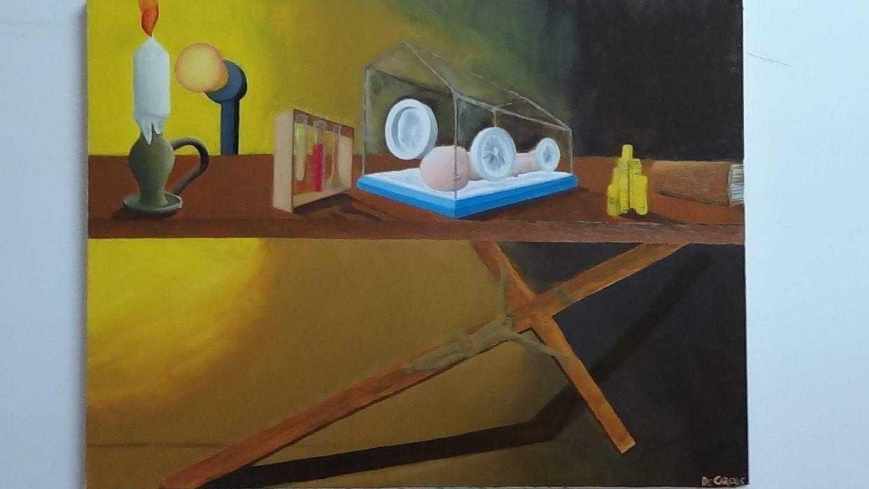 Natura morta con crocefisso- quadro a olio su tela- De Carolis