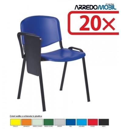 Stock 20 sedie con scrittoio a ribaltina