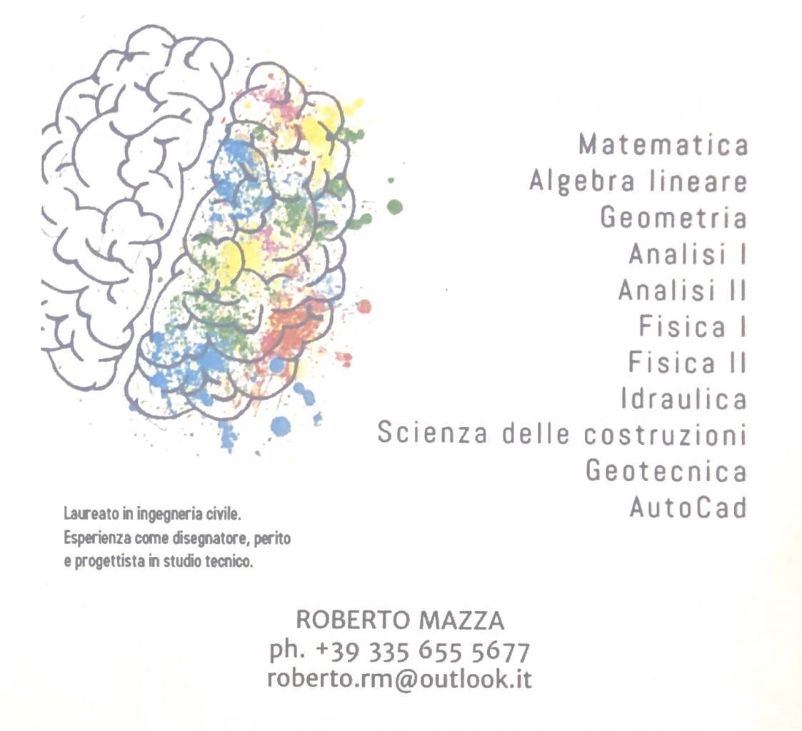 Lezioni private di Matematica, fisica, scienza delle costruzioni, idraulica, AutoCad e geotecnica