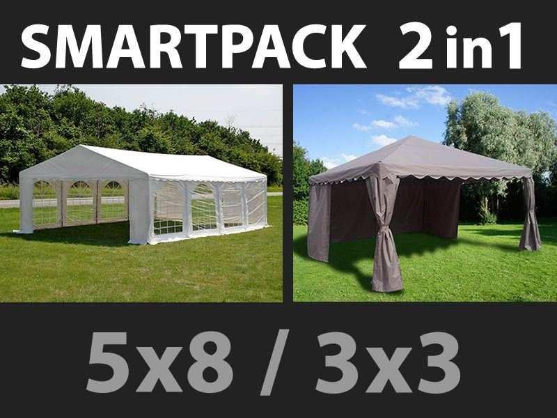 SmartPack Soluzione 2-in-1: Tendone per feste Original 5x8m, Bianco/Gazebo 3x3m, Sabbia